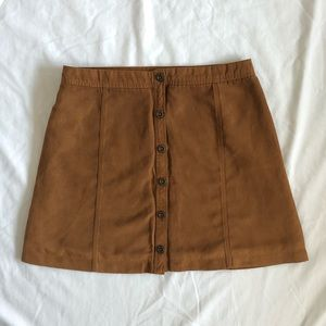 Brown Suede Button Up Skirt